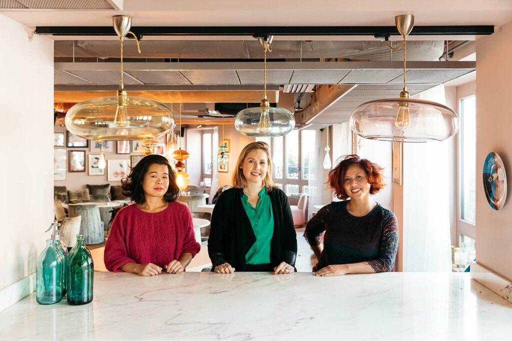 Photo of Hélène Xuan, Caroline Mac Naughton and Miora Ranaivoarinosy, co-founders of the Caring Company Project.