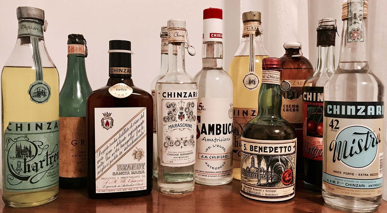 Bottles of Chinzari, Italian family business and producer of fine liqueurs.