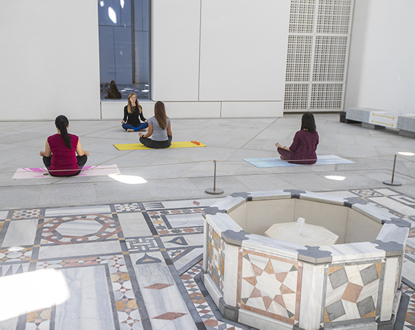 Louvre Abu Dhabi has developed a series of well-being opportunities for its visitors including kayaking or yoga under Jean Nouvel's dome.