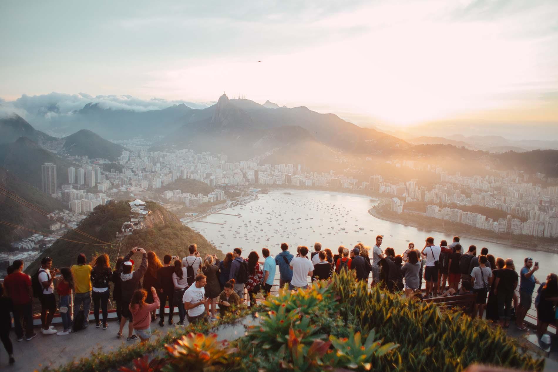 Tourists overlooking a destination.