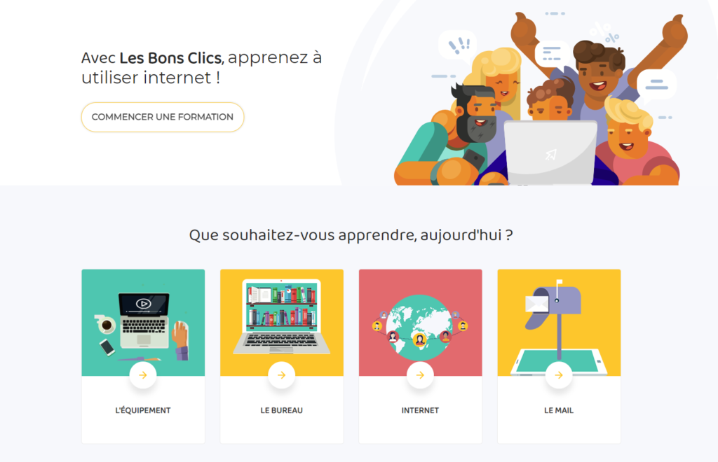 """An online platform, called """"Les bons clics"""", that provides online tools and resources committed to supporting those impacted by digital exclusion."""