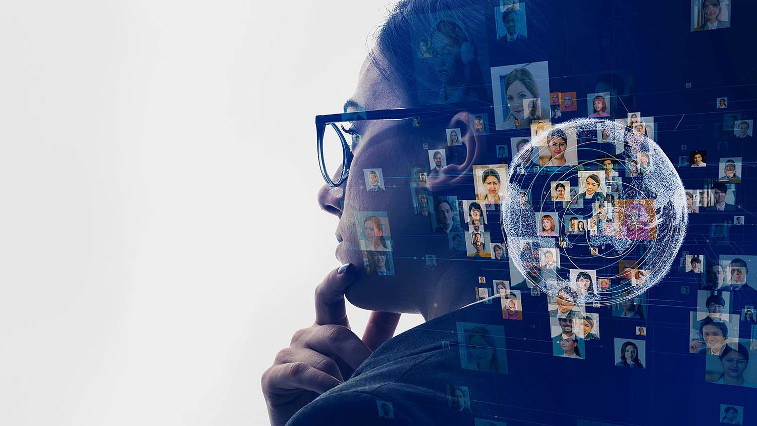 Women looking at diverse profiles for HR recruitment process.