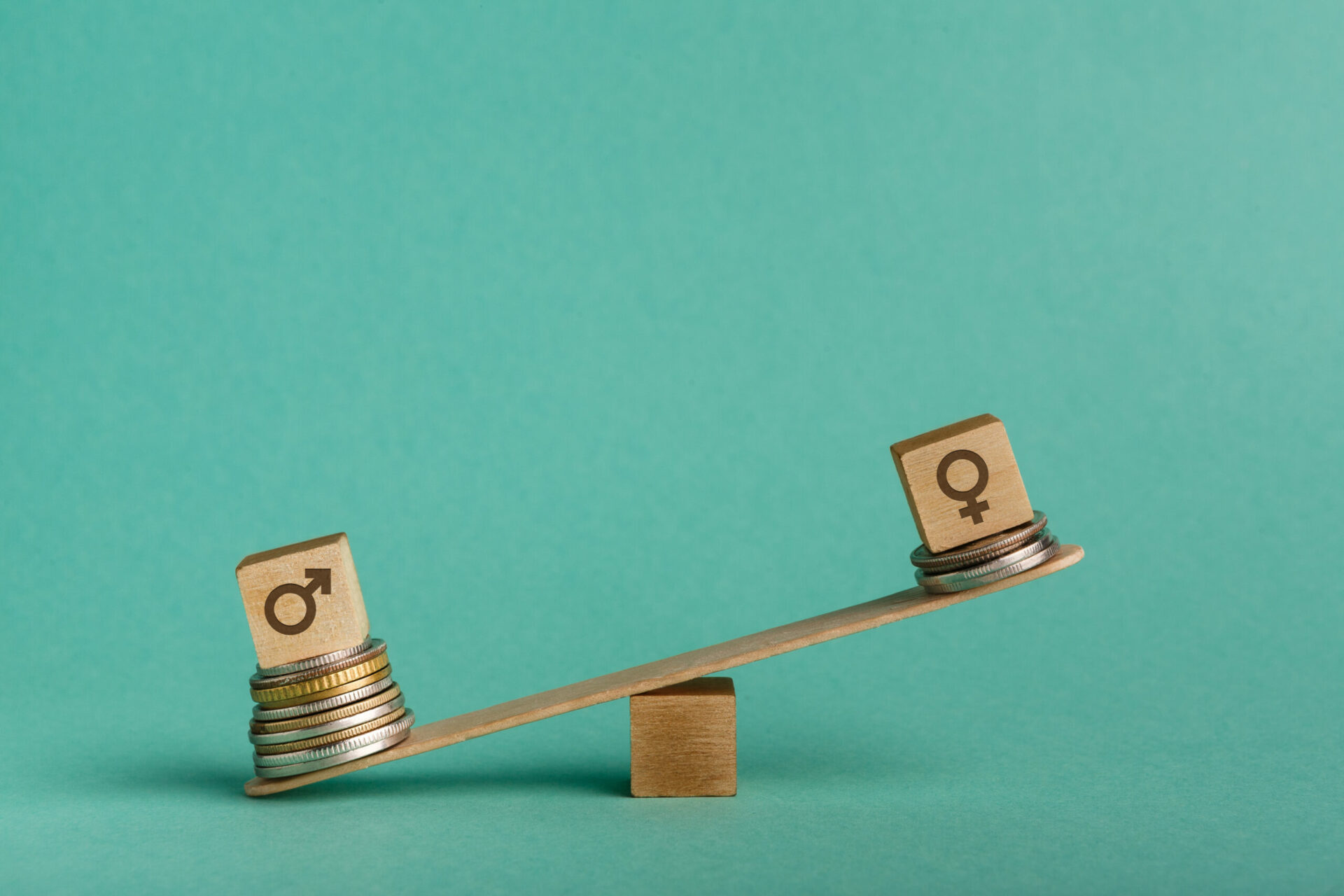 Illustration of gender pay gap with money and seesaw