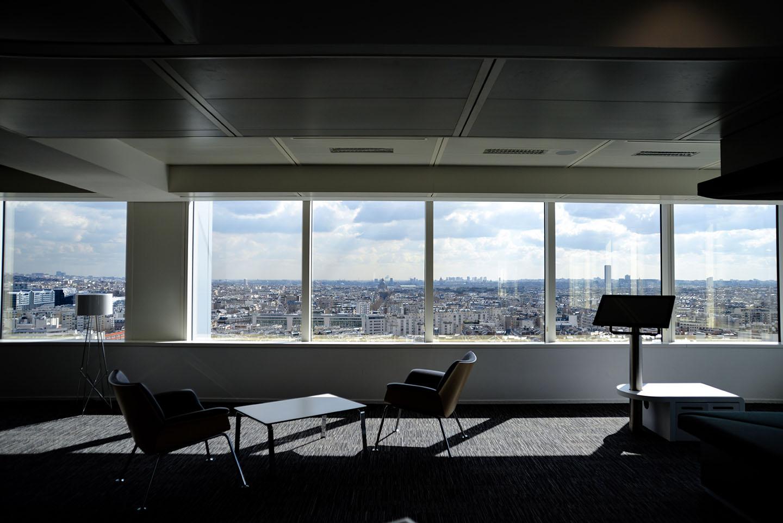 Two chairs near podium, virtual teams in empty office, Romain V, Unsplash