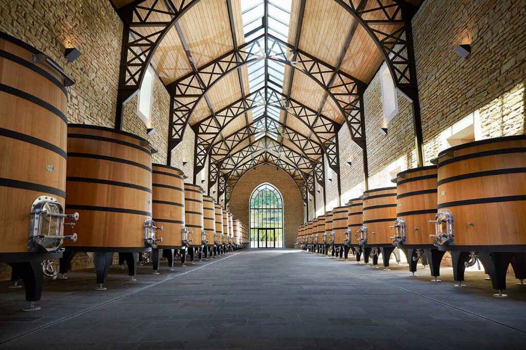 Photo of natural oak wine barrels on the Faiveley estate